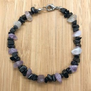 Natural Obsidian & Amethyst Bracelet With Clasp